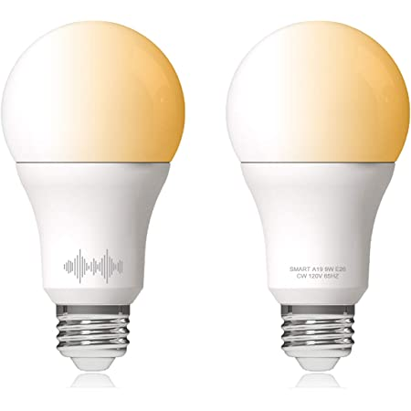 Helloify A19 Smart WiFi LED Light Bulbs, Tunable Changing, Warm to Cool White Dimmable, Work with Alexa & Google Home (No Hub), 60W Equivalent E26, 2700K-6500K, 2 Count
