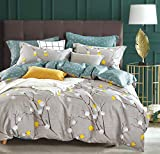 SLEEPBELLA Duvet Cover King, 600 Thread Count Cotton Grey Branch with Yellow Turquoise Polka Dot Pattern Green Reversible Comforter Cover(King, Grey Branches)