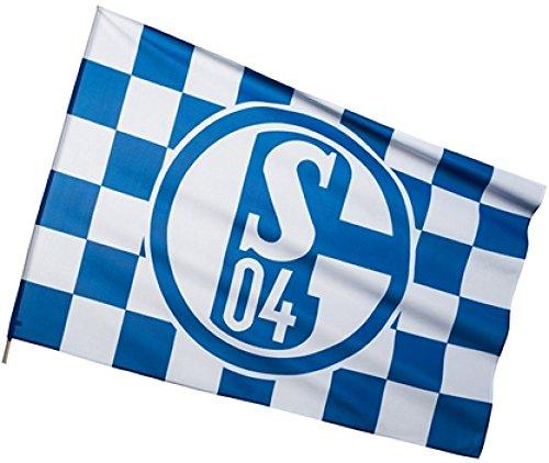 Flaggenfritze Stockflagge FC Schalke 04 Karo - 60 x 90 cm + gratis Aufkleber