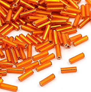 Packet 2200+ Orange Glass Circa 5-20mm x 2mm Bugle Seed Beads Y12485 (Charming Beads)