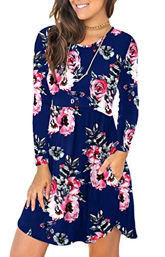 YUNDAI Women's Long Sleeve Casual T Shirt Dress Swing Loose Plain Dress with Pockets L Print Navy