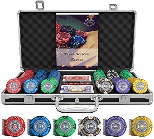 Bullets Playing Cards - Designer Pokerkoffer Tony Deluxe Pokerset mit 300 Clay Pokerchips, Poker-Anleitung, Dealer Button und Bullets Plastik Pokerkarten