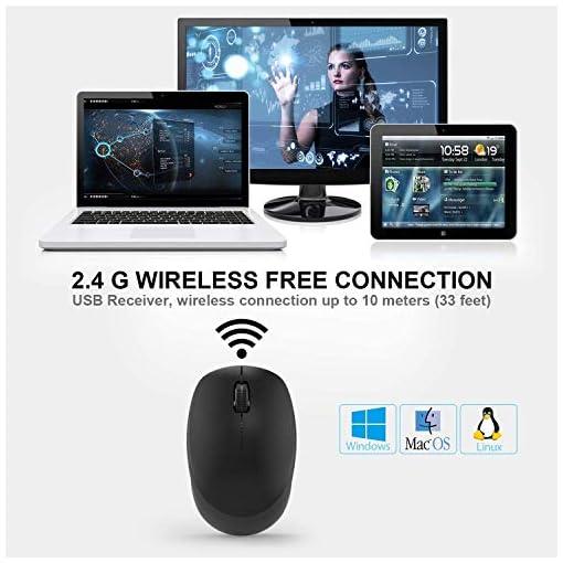 WisFox Ratón Inalambrico, Ratón Silencioso 2.4G con USB Nano Receptor de Computadora Portátil para Computadora Portátil… 4