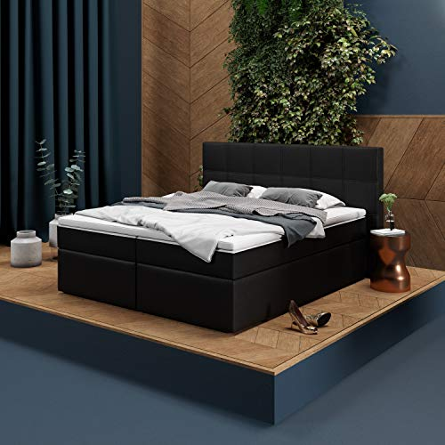 INNOCENT - P8 | Boxspringbett 180x200 in Schwarz PU | Gel & Visco 7cm Topper |...
