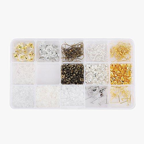 Brrnoo 1200pcs / Box Earrings Back, 5 Colors Earrings Backs Nuts Stopper Posts Hook Jewelry findings