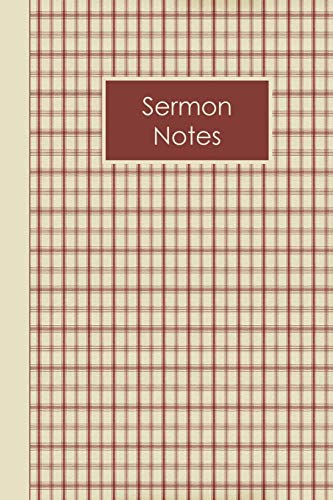 Christian Sermon Notes Journal: Dark Red And Tan Plaid