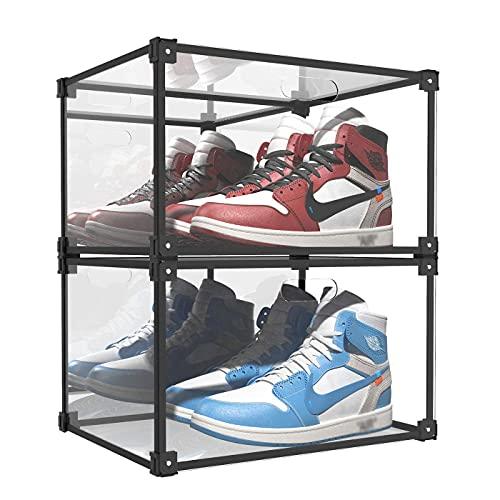 Caja Organizadora De Zapatos Transparente, Vitrina De Zapatillas, Contenedores De Almacenamiento De Caja De Zapatos Apilables Y Plegables, A Prueba De Polvo Y Humedad, 2 Piezas,Sidedoor