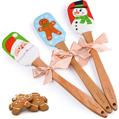 Zulay (3-Piece) Christmas Spatula Set - Premium Silicone Spatula Set With Wooden Handle - Decorating Spatula Silicone With Snowman, Gingerbread Man, and Santa Claus Design
