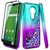 NZND Case for Nokia C5 Endi (Cricket Wireless) with Tempered Glass Screen Protector (Full Coverage), Sparkle Glitter Flowing Liquid Quicksand, Women Girls Cute Phone Case (Aqua/Purple)