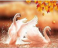 ナンバーペインティングプレスによるDiyペイントデジタルアクリルペイントキット大人の大人の初心者キャンバス油絵ギフト子供たちの家の装飾白いガチョウのカエデの葉
