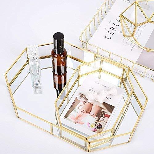 Vintage vidrio placa de almacenamiento perfume vela espejo disco cosmético escritorio de escritorio mesa decorativa joyería decorativa metal vidrio caja de almacenamiento,A