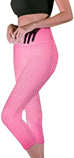 Jinqiuyuan Women's Seven Points Yoga Pant Printing Hip High Waist Running Sports Pants Training Gym Fitness Pants Seamless Leggings (Color : Pink, Size : S)