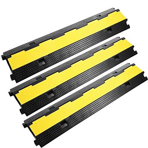 FlowerW 3er Pack für 2-Kanal Kabelbrücke Kabelbinder Schutz PVC Gummikabel Sockelprotektoren Unterstützt 11000 lb (5000 kg) (3 x 2Kanäle)