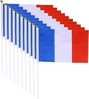 PRETYZOOM - Set di 20 bandierine della Francia, tenute a mano, 14 x 21 cm, colore: Bianco