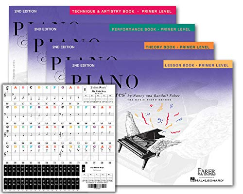 Piano Adventures Primer Level 2nd Edition Bundle Set By Nancy Faber - Lesson, Theory, Performance, Technique & Artistry Books & Juliet Music Piano Keys 88/61/54/49 Full Set Removable Sticker