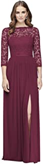 3/4-Sleeve Illusion Lace and Mesh Bridesmaid Dress Style F19908