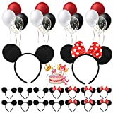 33 Pack Mouse Ears Headband - Mouse Ears Black Red Bow for Birthday Party Supplies Mouse Ears Decorations with Balloons Boys Girls Kids Costume Cosplay