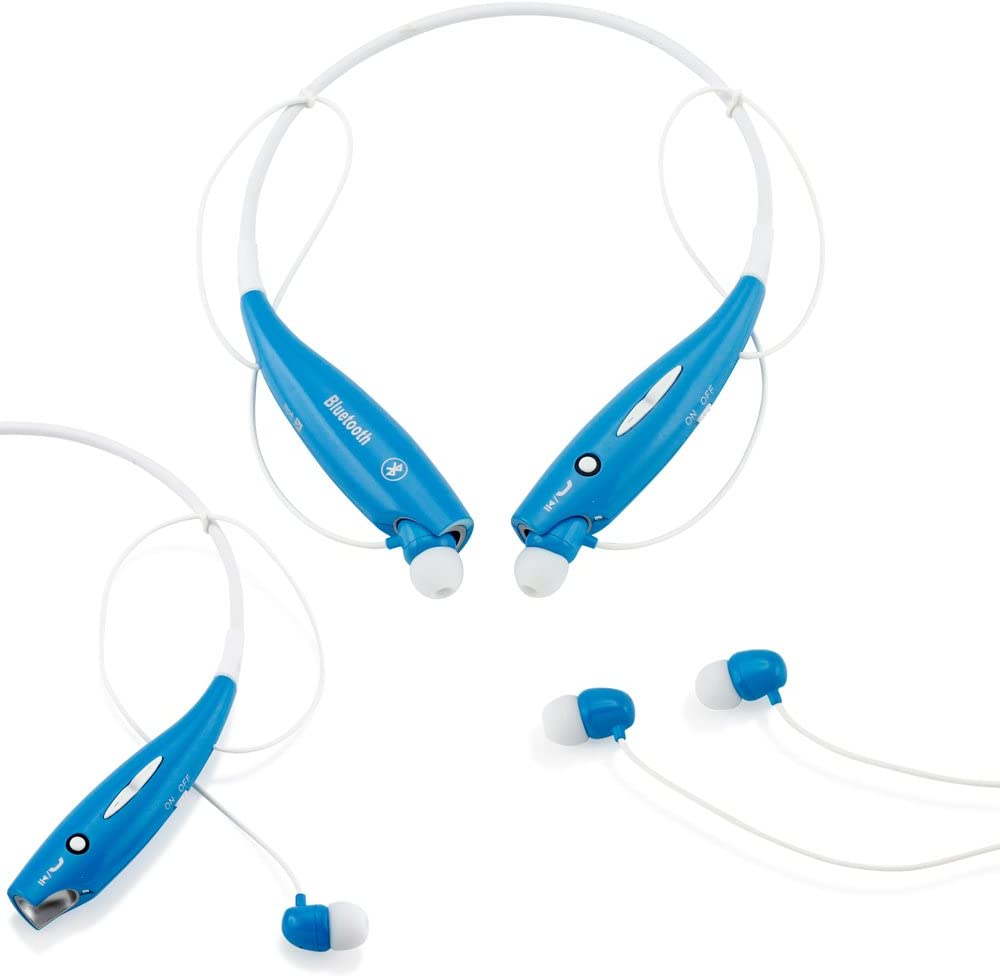GEARONIC TM Wireless Sport Stereo Headset Bluetooth Earphone Headphone Compatible with Android or iPhone Blue