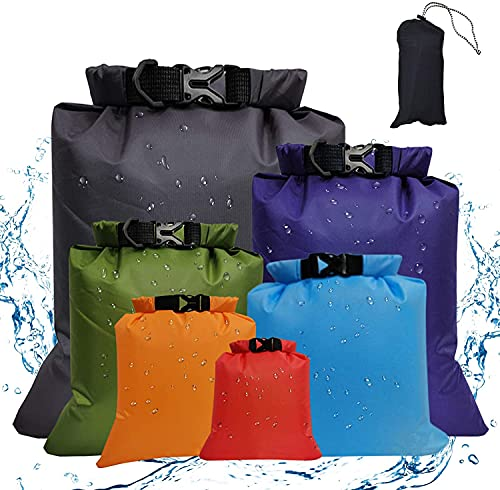 CGSYYT Bolsas secas impermeables bolsa de almacenamiento para paseos al aire libre, camping, escalada, saco seco ligero, paquete de 6 tamaños diferentes