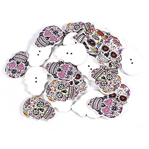 T opiky Botones de Madera con Forma de Calavera, Botones de decoración de Esqueleto de Halloween, decoración de Tela, para álbumes de Recortes, Coser, Hacer Tarjetas(Mixto 2)