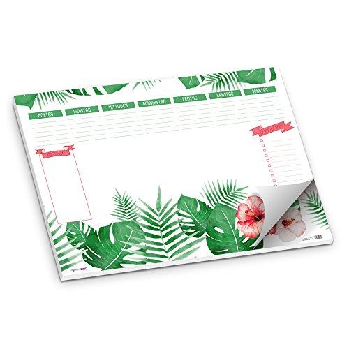 Schreibunterlage Blätter Dschungel Pflanzen Blüte DIN A2 50 Blatt Schreibtischunterlage groß aus Papier grün weiß rot