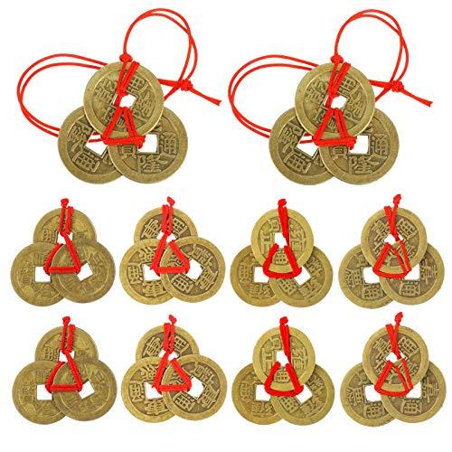 GOTH Perhk Feng Shui Münzen, 10 Sätze 5 Stile Chinesische Glücksmünzen I-Ching Münzen Traditionelle Münzen mit Roter Schnur für Reichtum und Erfolg