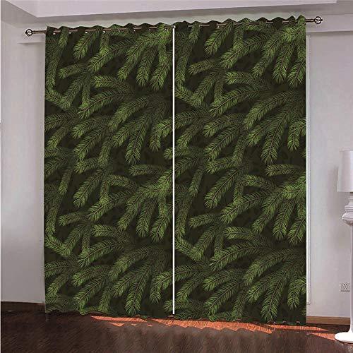 DOORWD Tenda Oscurante Termica Isolante con Occhielli Tende Foglie Verdi 2 Pannello per Finestre Soggiorno Interni 150 cm x 166 cm