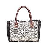 Myra Bags Yarny S-1884 Tasche aus Segeltuch, Leder und Teppich