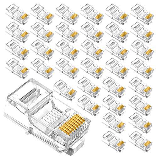 Androxeda Conector RJ45 de 6 categorías y 100 Piezas, Conector de Red UTP, Transparente