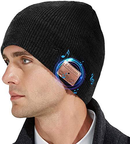 Lukasa Bluetooth Beanie Mütze, Wireless Bluetooth 5.0 Strickmütze Musik Braid Cap Winter Warme Hüte mit Stereo-Lautsprecher für Outdoor-Sport, Skifahren, Laufen, Skaten