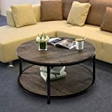 Round Coffee Table Rustic Vintage Industrial Design Furniture Sturdy Metal Frame Legs Sofa Table Cocktail Table with Storage Open Shelf for Living Room, Easy Assembly, Gray Brown