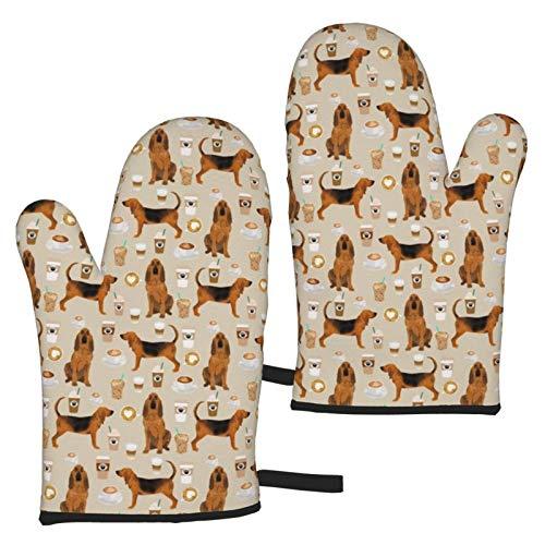 Mxung Bloodhound Dogs and Coffees Sand Langlebige und verbesserte Mikrowellenofen-Wärmeisolierung Dicker Ofenhandschuhe Handschuhe