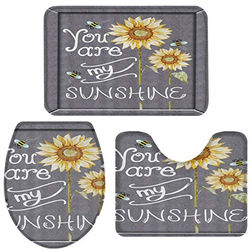 Bath Rugs for Bathroom Set 3 Piece-Sunflower You are My Sunshine,Non-Slip Washable Memory Foam Absorbent Bath Mat Runner Rugs for Tub Shower,U-Shaped Toilet Floor Mats,Toilet Lid Cover
