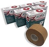 evofis Sport Tape–Cinta duro óxido de zinc de alta adesività–Pack de 6rollos de 3,8cm x 13,7m), color natural–Ideal para vendaje funcional, Actividad Deportiva, metodo McConnell y Mulligan