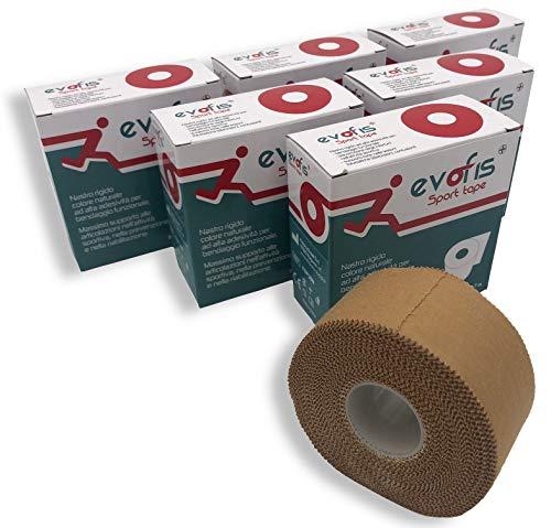 Evofis Sport Tape – Starres Zinkoxid-Band mit hoher Haftung – Verpackung aus 6 Rollen 3,8 cm x 10 m, Naturfarbe – Optimal für funktionelles Taping, Sport, McConnell und Mulligan Taping-Techniken