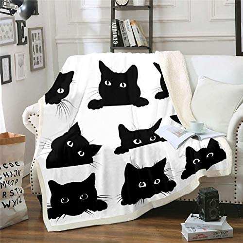 Feelyou Black Cat Blanket for Kids Toddler Cute Pet Cats Pattern Fleece Throw Blanket Lovely Kitten Plush Blankets and Throws Super Soft Cozy Animal Sherpa Blanket for Couch Bed Sofa 50'x60' White