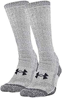 Under Armour Adult Hitch Coldgear Boot Socks, 2-Pairs, Grey, Shoe Size: Mens 8-12, Womens 9-12