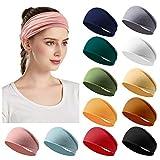 12 Pack Women's Headbands Elastic Hair Bands Workout Running Turban Headwrap Non Slip Sweat Yoga Hair Wrap for Girls