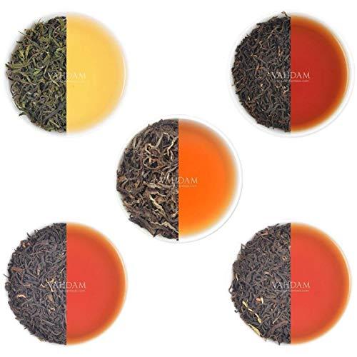VAHDAM, Oolong-Teeblätter-Sampler - 5 TEE, 25 Portionen | OOLONG TEE FÜR GEWICHTSVERLUST | 5 Köstlicher Oolong-Tee Loose Leaf | 100% natürlicher Schlankheits-Tee, Gewichtsverlust-Tee, Tee Probierset