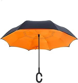 Orange Women C Handle Inverted Umbrella Folding Reverse Double Layer Windproof Rain Gentleman Umbrella,Orange
