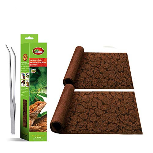 MCLANZOO 2PCS Reptile Carpet,Pet Terrarium Liner,Reptiles Cage Mat/Substratefor Snakes, Chameleons, Geckos ands Kitchen Use with Tweezers Feeding Tongs (Printing Desert, 40Gallon(36 x 18in))