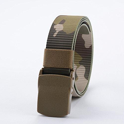 BT.CE Cintura Uomo di Nylon Stile Tattico Outdoor Sports Ampia 3.8Mm con 120Cm Camo Cintura Beige
