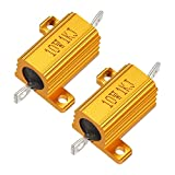 uxcell 2 Pcs Aluminum Case Resistor 10W 1K Ohm Wirewound for LED Converter with Rod Post 1...