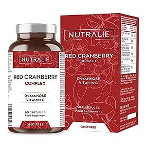 Arándano Rojo Americano con Vitamina C, D-Manosa e Hibisco   Protección tracto urinario y Antioxidante   60 Cápsulas Nutralie