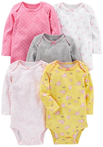 Simple Joys by Carter's Baby Girls - Body de Manga Larga, 5 Unidades, Pink, Gray, White, Yellow, 18 Months