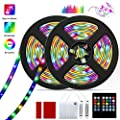 Barhootao 13.2FT/4M LED Strip Lights RGB LED Light Strip Battery Operated, Music Sync 5050SMD, Color Changing Rope Light Waterproof LED Tape Lights Kit with Remote for Party Room (2x6.6FT)
