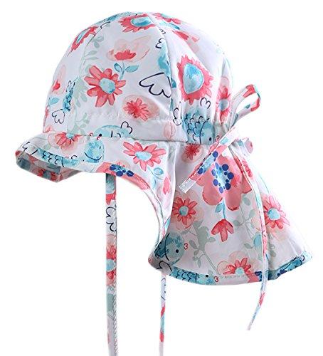 MeekEra Bebés Sombrero con Alas Anchas de Verano Anti-UV con Chal Gorro de Sol Algodón Transpirable Infantil para Niños Protección Solar Floral Lindo - Blanco - 2-3 Años ✅