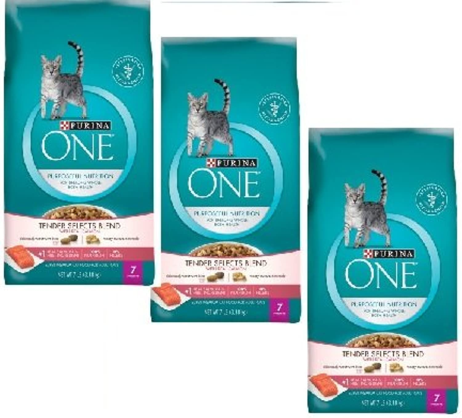 Purina ONE Tender Selects Blend Real Salmon Cat Food 7 lb. Bag (3 Bag)