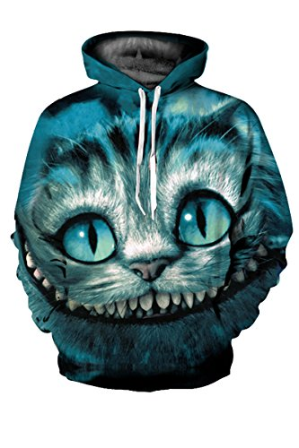 LEISUP Unisex Simulation Printed Galaxy Pocket Drawstring Hooded Sweatshirt Cheshire cat XL
