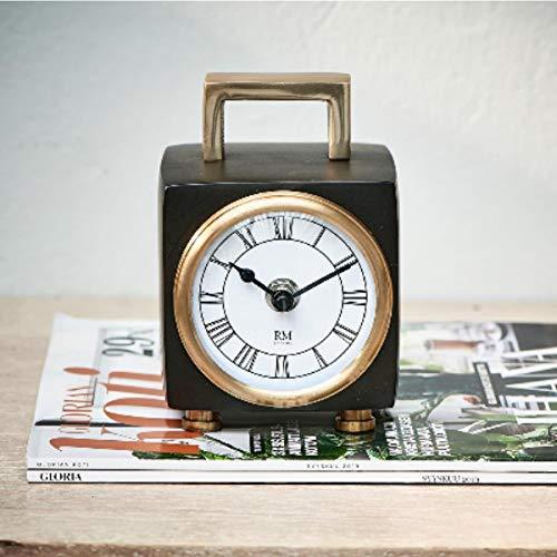 Riviera Maison - The Residence Clock - Tischuhr - Aluminium/Messing/Glas - Schwarz - (BxTxH) 13 x 10 x 18cm